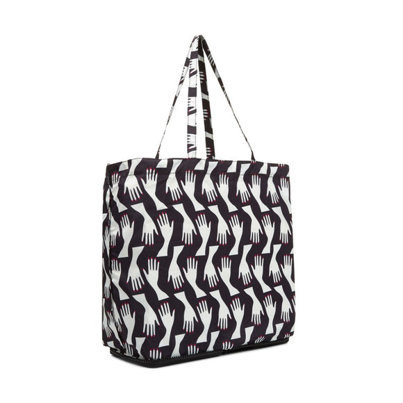 Hug Print Foldaway Shopper in Black/Chalk
