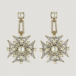 Gold Crystal Medal Cross Drop Earrings by Butler & Wilson