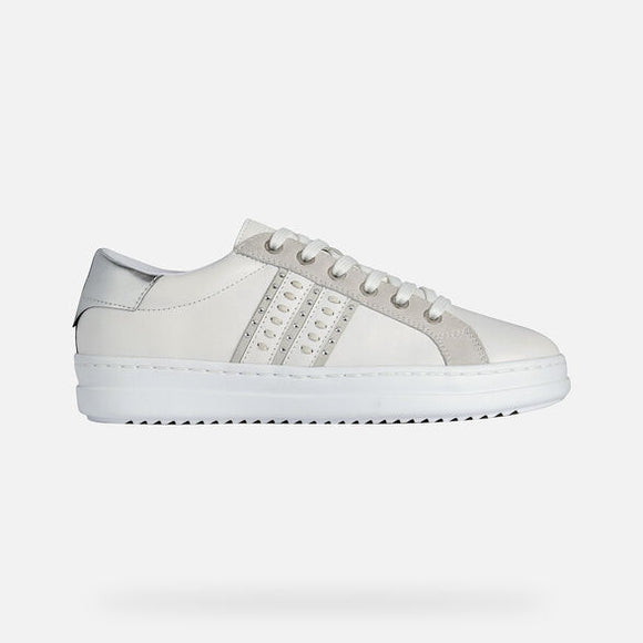 Pontoise Silver/White Sneakers By Geox