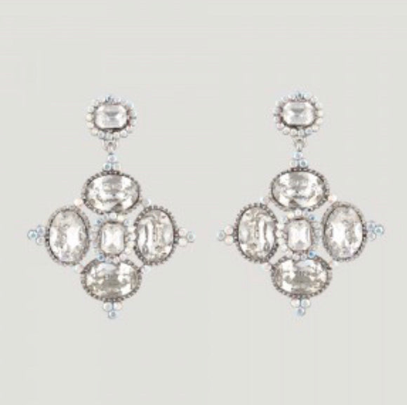 Square Shape Crystal Drop Earrings by Butler & Wilson