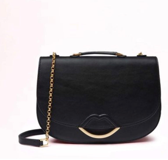 Half Lip Small Isabella XBody in Smooth Black Leather by Lulu Guinness