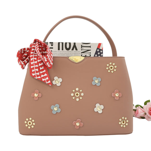Nude Bag with Floral Design