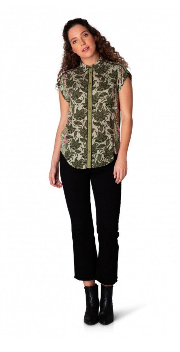 Georgia Olive Green Short Sleeved Blouse by Yest