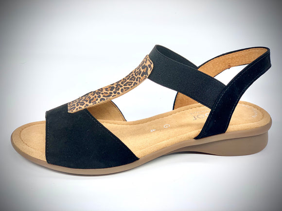 Lina Black/Natural Sandals by Gabor