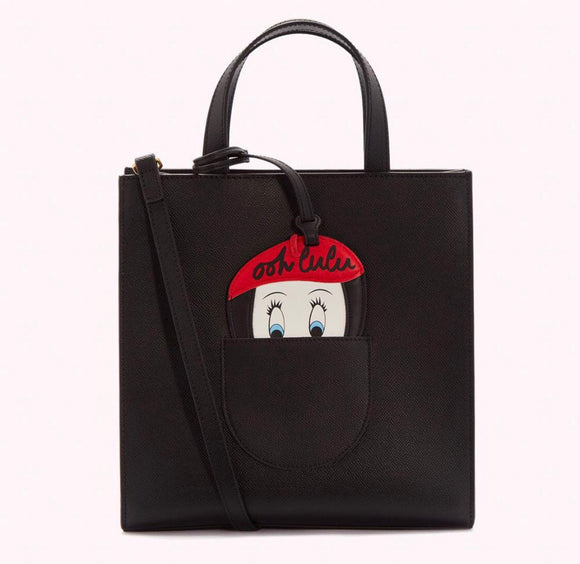 Ooh Lulu Medium Davina Tote in Black by Lulu Guinness