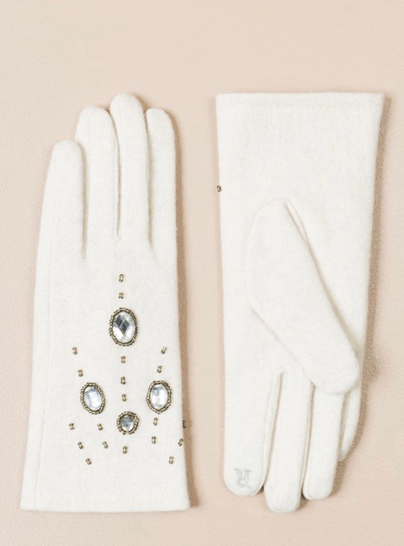 Piper Embellished Gloves In  Cream By Pia Rossini