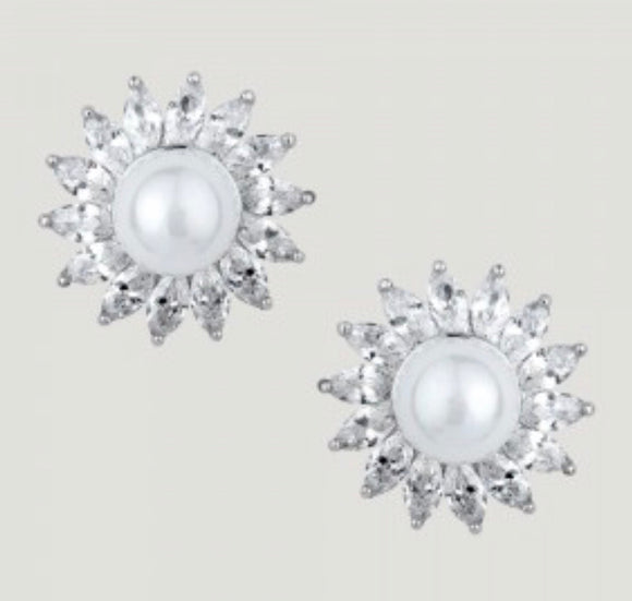 Central Pearl with Pointed Crystal Stud Earrings by Butler & Wilson
