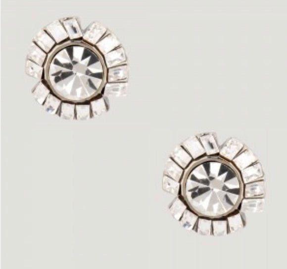 Baguette Crystals with Pearl Stud Earrings by Butler & Wilson