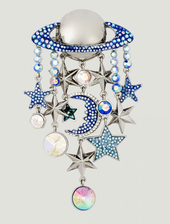 PLanet with Stars and Moon Brooch by Butler & WIlson