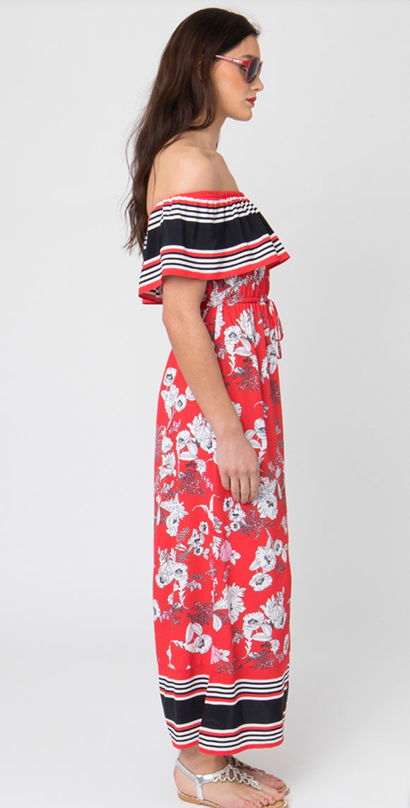Monaco Maxi Dress in Red by Pia Rossini