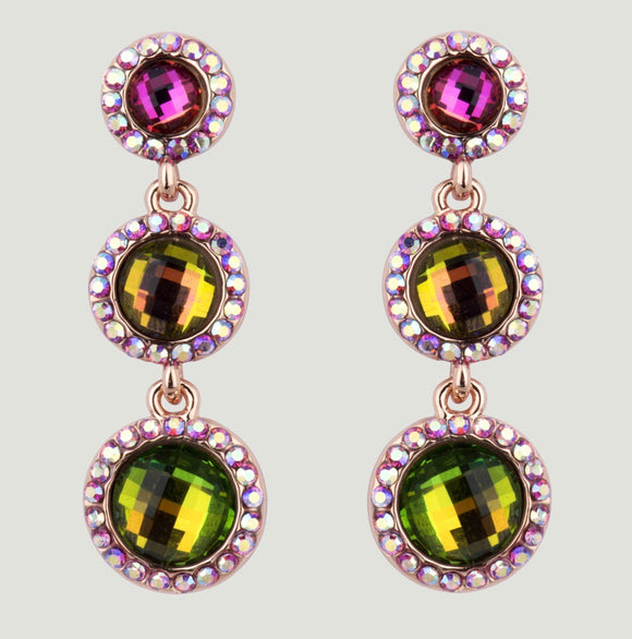 3 Crystal Circles Drop Earrings by Butler & Wilson