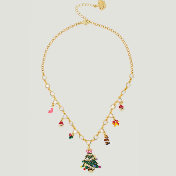 Gold Christmas Charm Necklace by Butler & Wilson