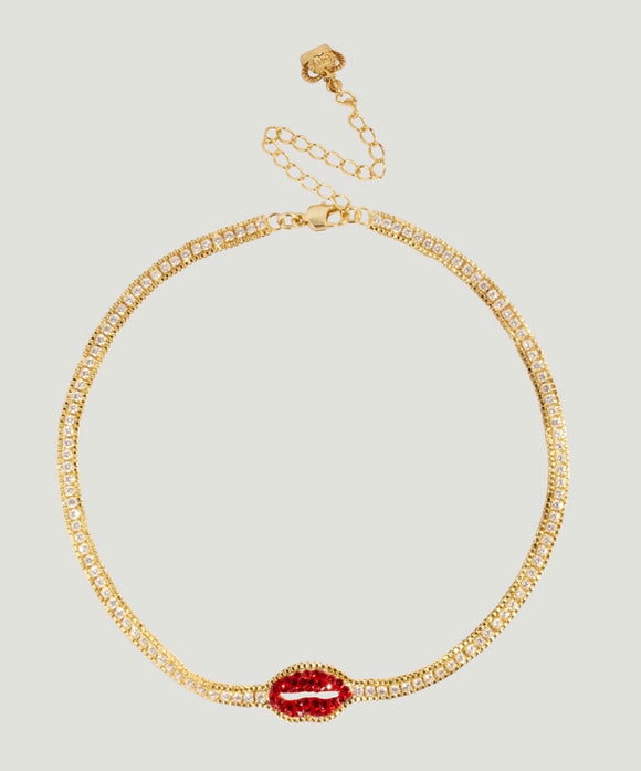 Crystal Lip Row Necklace by Butler & Wilson