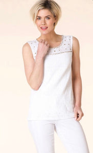 White Sleeveless Top by Yest