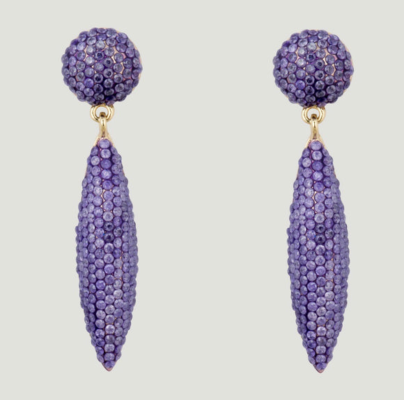 Pave Cone Lilac drop earrings by Butler & Wilson