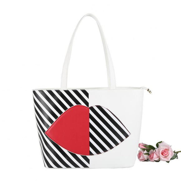 White Striped Tote