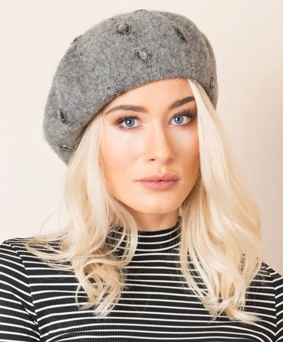 Piper Beret Silver Grey By Pia Rossini