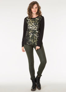 Black/Green Long Sleeve Top by Yest