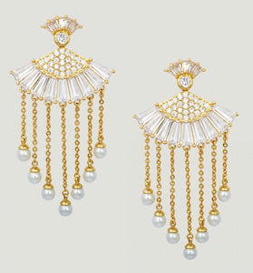 Crystal Fan Shape Earrings by Butler & Wilson