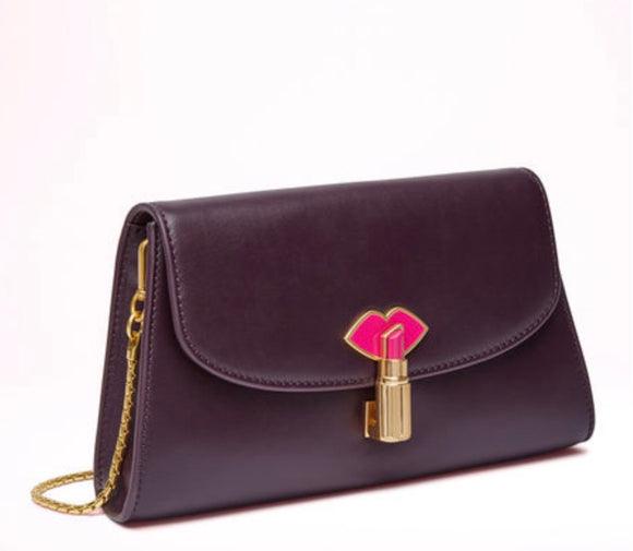 Lipstick Lock Elizabeth in Smooth Aubergine Leather by Lulu Guinness