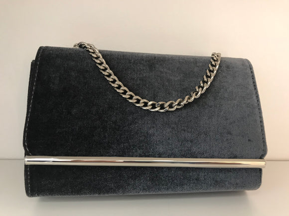 Silver Grey Suede Box CLutch