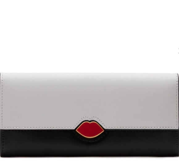 Lipstick Lock Cora Wallet in Black/Chalk by Lulu Guinness
