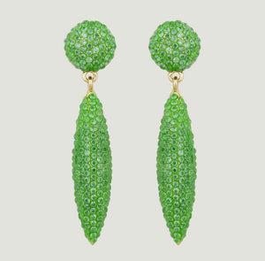 Pave Cone Green drop earrings by Butler & Wilson