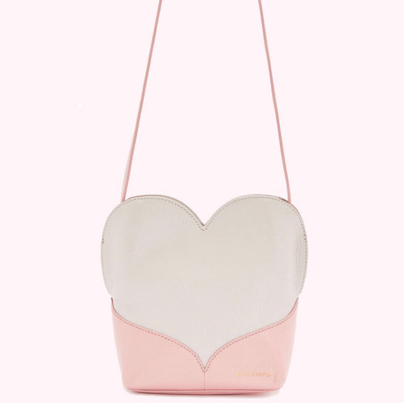Oyster/Dusky Pink Heart Medium Harriet Xbody by Lulu Guinness