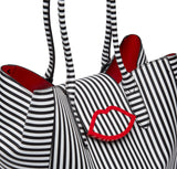 Large Black Cupids Bow SOFIA Tote by Lulu Guinness