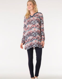 Scarlet Red/ Multi-colour Long Shirt by Yest