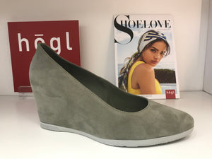 Cecilia Suede Wedge in Sage Green by Hogl