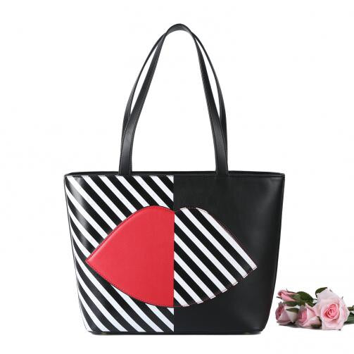 Black/White Striped Lip Tote