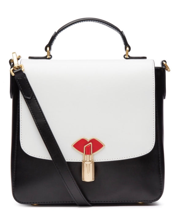 Lipstick Lock Small Eleanor in Black/Chalk by Lulu Guinness