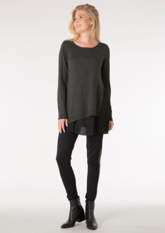 Grey Jumper With Pleated Hem