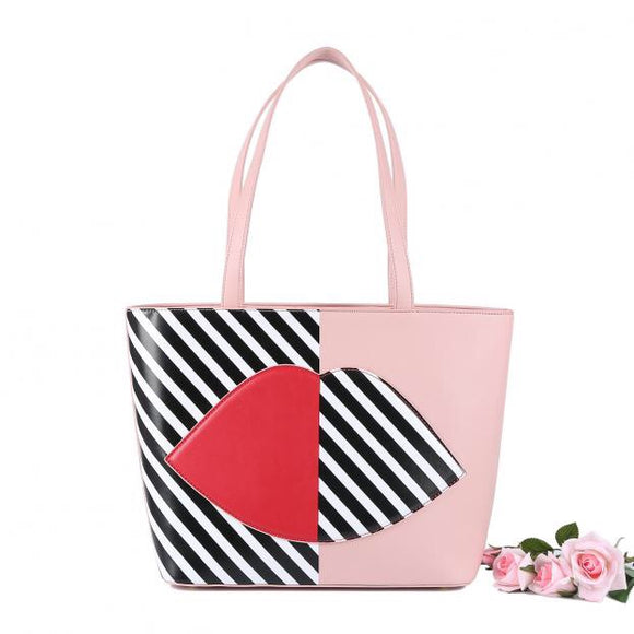 Pink Striped Lip Tote