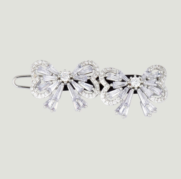 Clear Baguette Stone Bow Hairclip by Butler & Wilson
