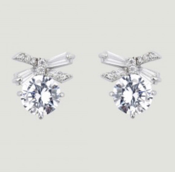 Clear CZ Bow Drop Earrings by Butler & Wilson