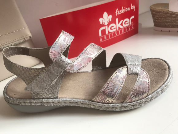 Illinois Metallic Shark Sandal by Rieker
