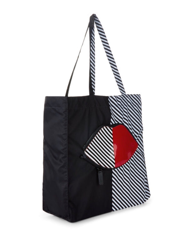 50:50 Stripe Lip Shopper by Lulu Guinness