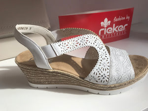 Alabama White Wedge Sandal by Rieker