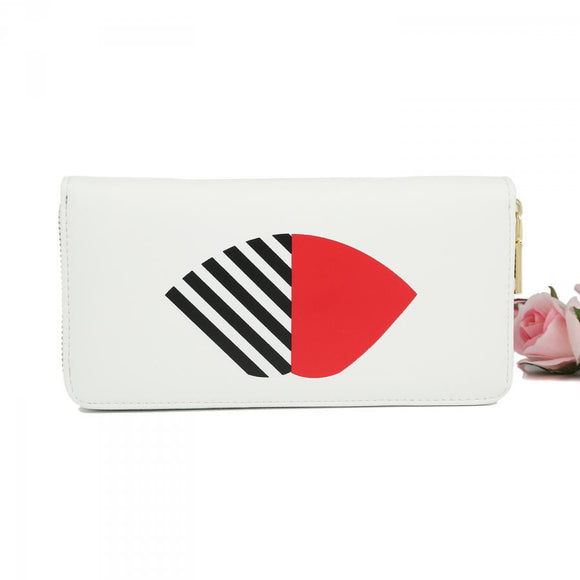 White Striped Lip Purse