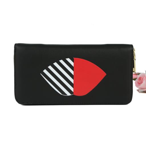 Black Striped Lip Purse