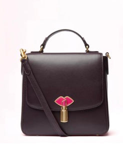 Lipstick Lock Small Eleanor in Aubergine by Lulu Guinness
