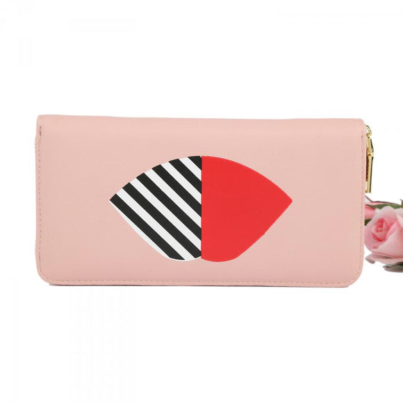 Pink Striped Lip Purse