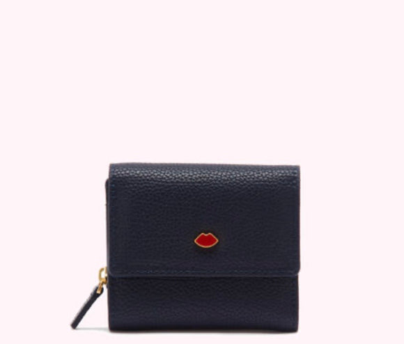 Pop Out Lip Jodie Wallet in Navy by Lulu Guinness