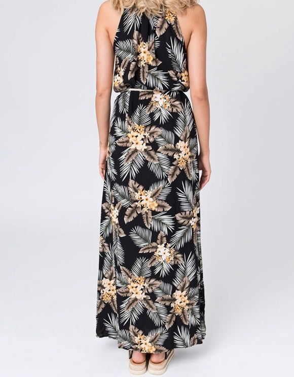 Breeze Maxi Dress in Black/Gold by Pia Rossini