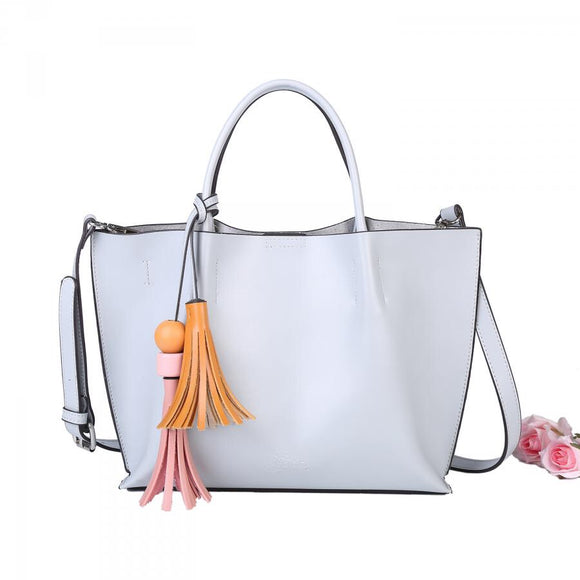 Grey Tote with Tassel