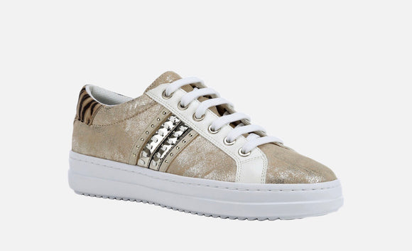 Pontoise Sand/Light Gold Sneakers By Geox