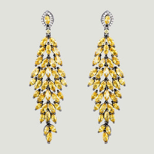 Yellow Cluster Crystals Drop Earrings by Butler & Wilson