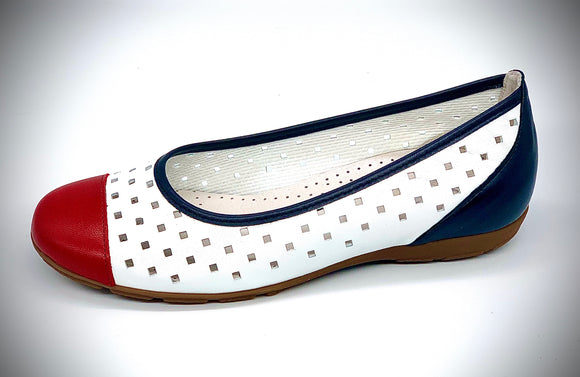 MILA White/red/navy Pump by Gabor
